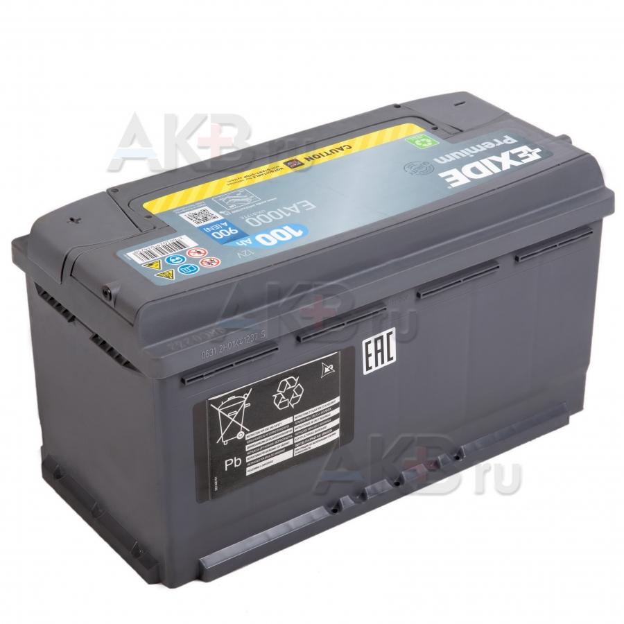 Автомобильный аккумулятор Exide Premium 100R (900А 353х175х190) EA1000