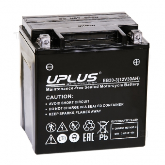 Uplus EB30-3 12V 30Ah 385А обр.пол. (166x126x173) Super Start High Performance AGM