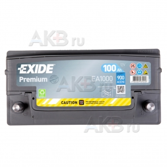 Автомобильный аккумулятор Exide Premium 100R (900А 353х175х190) EA1000. Фото 2