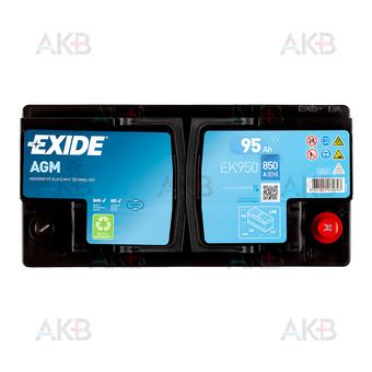 Автомобильный аккумулятор Exide Start-Stop AGM 95R (850А 353x175x190) EK950. Фото 1