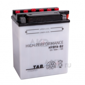 TAB Moto High performance HYB14-B2 (194515) 12V 14Ah 160A (134x89x166) прям. пол. сухоз.